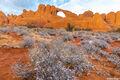 skyline arch, arches national park, snow, utah