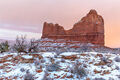 snowy day, arches, national park, utah