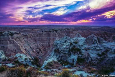 the badlands, national park, south dakota, colorful sunset