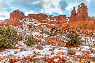arches national park, winter, snow