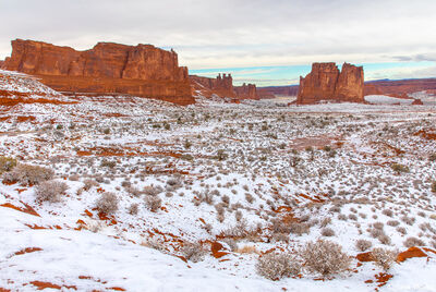 snowy scene, arches national park, utah