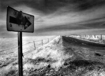 rural sacramento county, california, arrow, bullet riddled sign