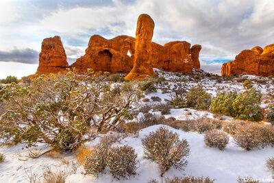 fresh snow, arches national park, utah