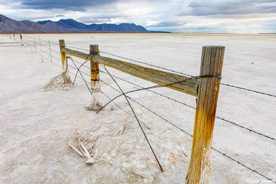 salty, sandy, fence, black rock desert, nevada