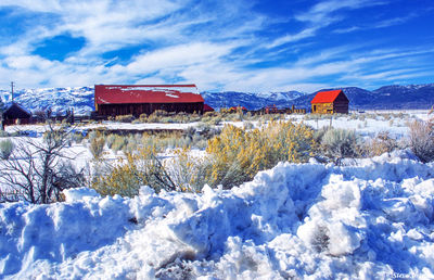 bridgeport, california, barns in snow