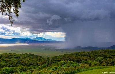 ngorongoro crater, tanzania, storm brewing, mushroom cloud