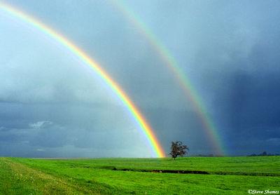 sacramento valley, california, double rainbow