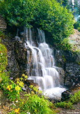 glacier national park, montana, waterfall