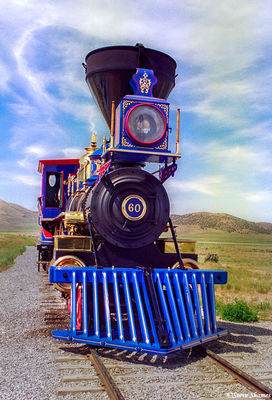 golden spike, promontory point, utah, locomotive
