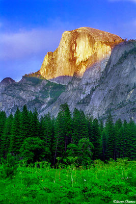 half dome, glowing, yosemite national park