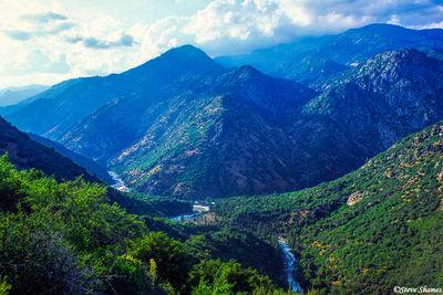 kings canyon, national park, hazy mountain scene