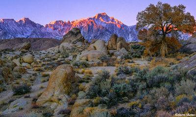 alabama hills, owens valley, california, lone pine peak, sunrise