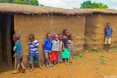 maasai children, village, kenya, traditional attire