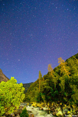 yosemite national park, merced river, nightshot, stars