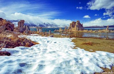 mono lake snow, california
