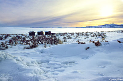 mono lake, california, layer of snow