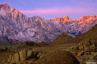 alabama hills sunrise, eastern california, mount whitney, lone pine peak