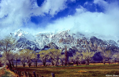 owens valley, california, snow covered mountains, shrouded clouds