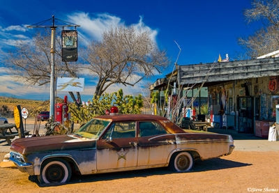 hackberry store, route 66, arizona, old rusting cars