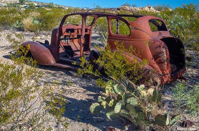 terlingua texas, old junked car, rusting