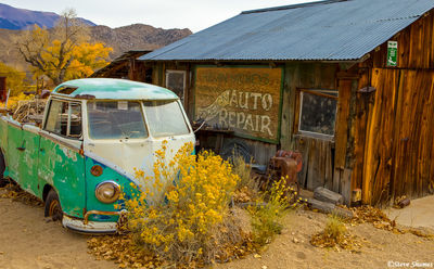 tiny town, benton, eastern california, volkswagen bus