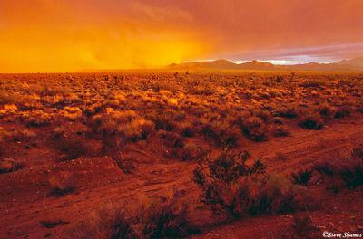 mojave national preserve, california, snowstorm, desert sky