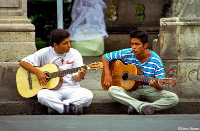 morelia, mexico, guitar guys, town square