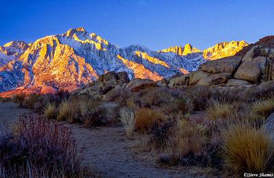 alabama hills, owens valley, california, sierras glowing