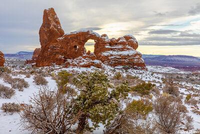 turret arch, snow, national park, utah