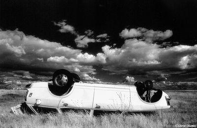 rural sacramento county, california, upside down car