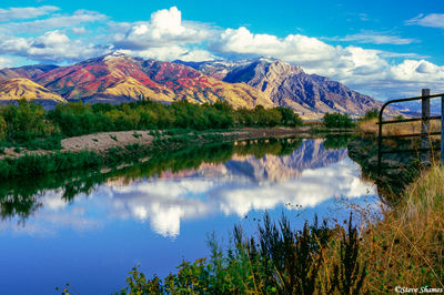 wasatch mountains, reflection, brigham city, utah