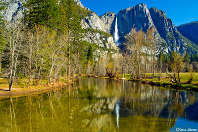 yosemite national park, waterfall reflection, yosemite falls