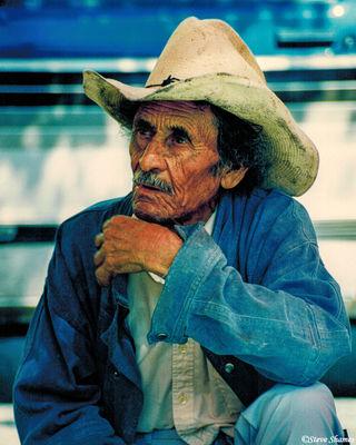 morelia mexico, open market, weathered old man