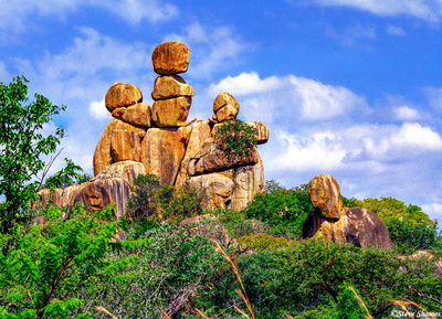 motobo national park, zimbabwe, mother and child, rock formations
