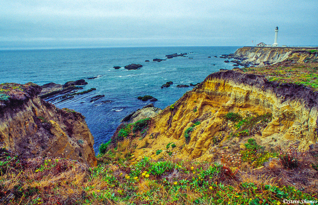 point arena lighthouse, rugged pacific coast, mendocino county, california, photo
