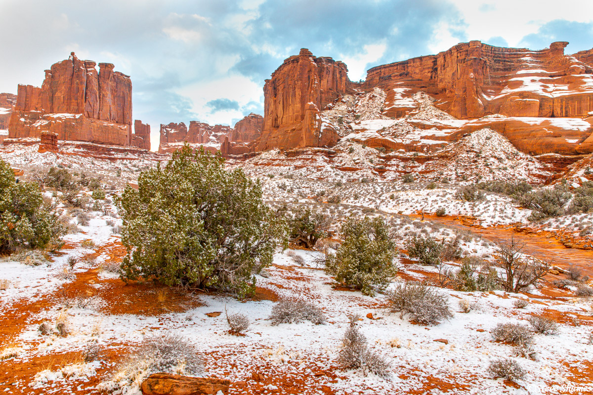 Arches National Park after a good snow. We were happy to see the snow on our last day there.