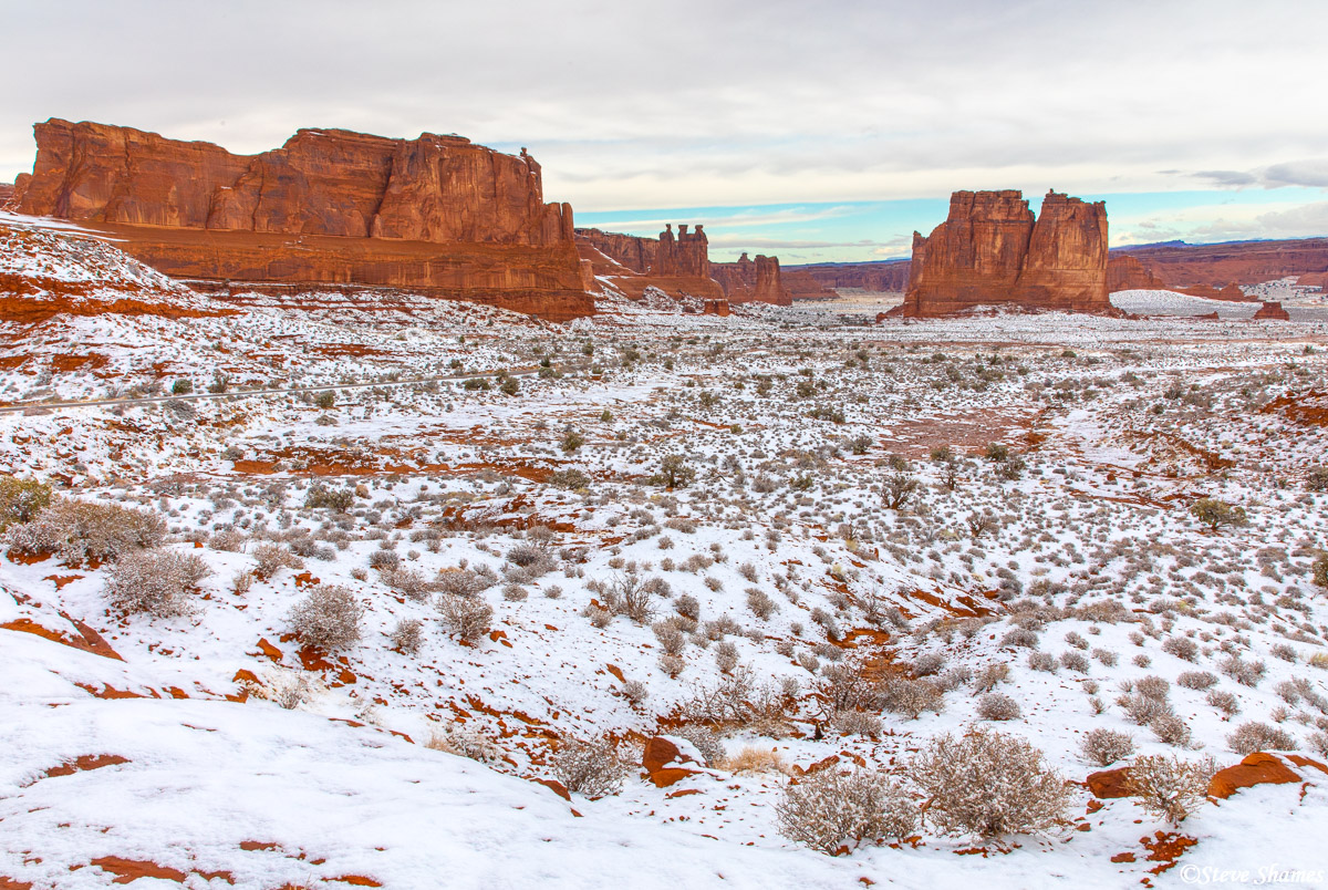 A snowy scene at Arches National Park.
