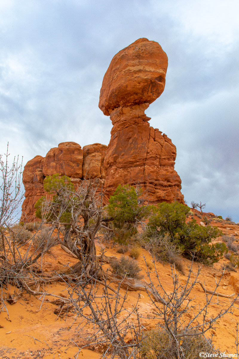 Someday, wind and water erosion will cause this rock to tumble, but until then is is quite a sight.