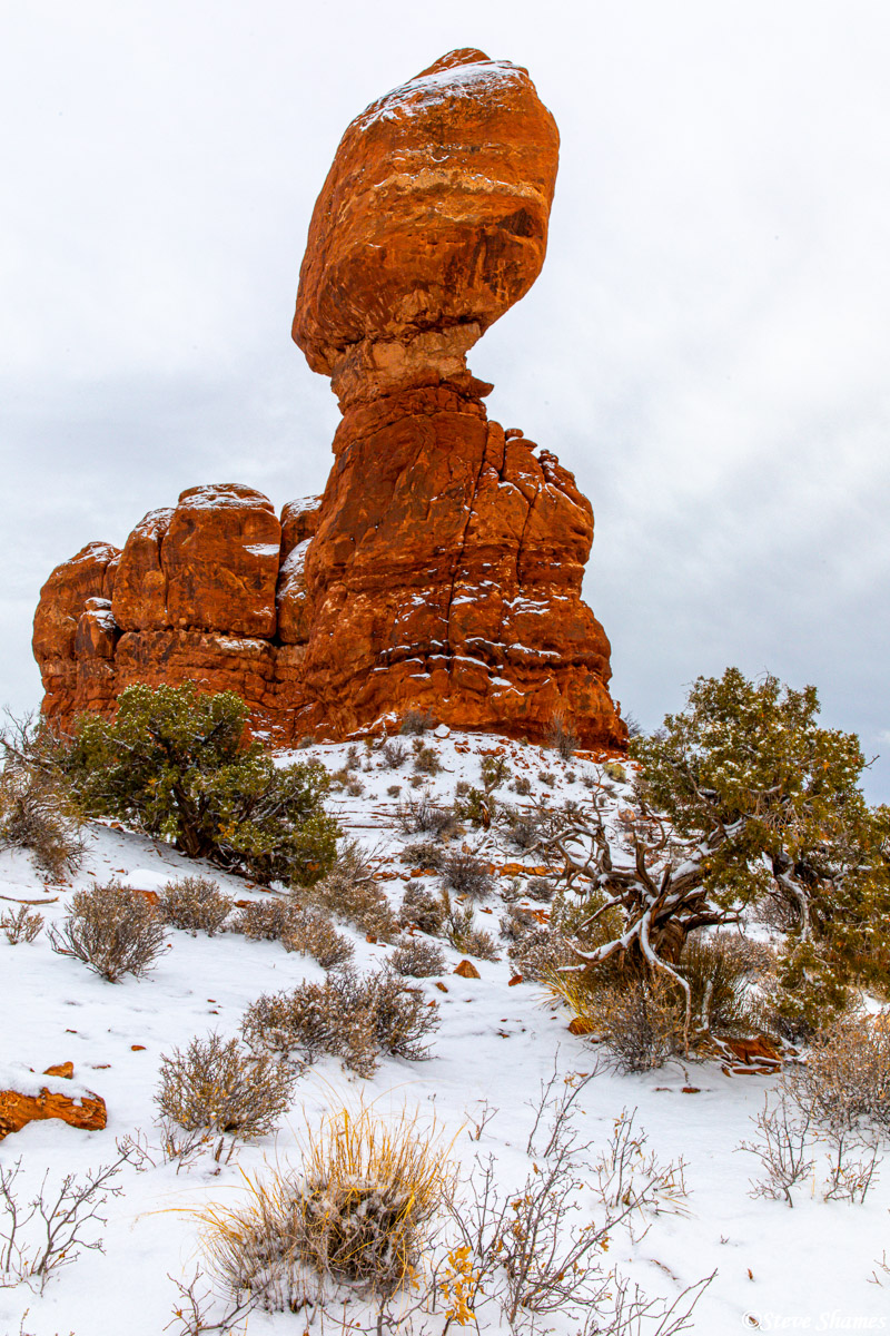 Another view of Balanced Rock on a snowy day.