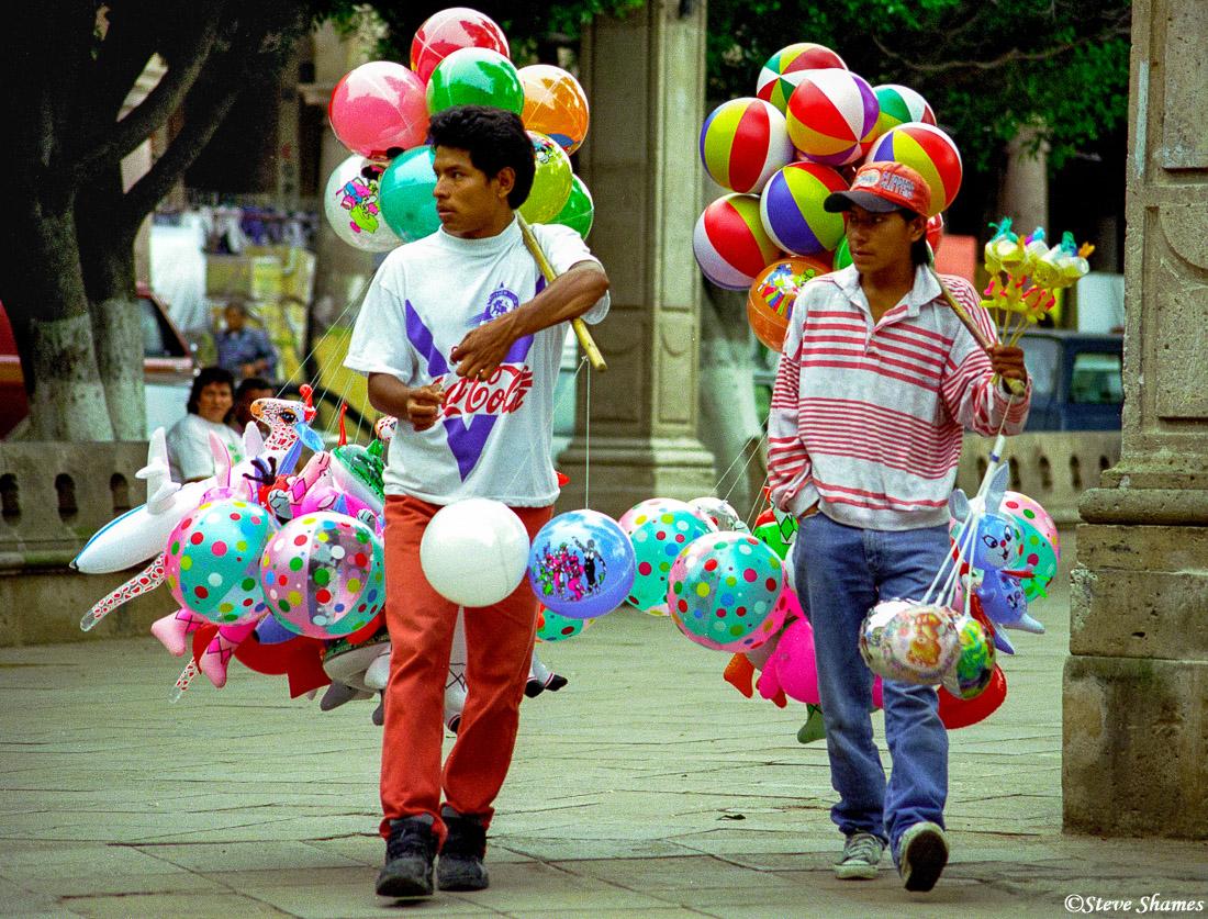 Balloon guys at a Morelia town square.