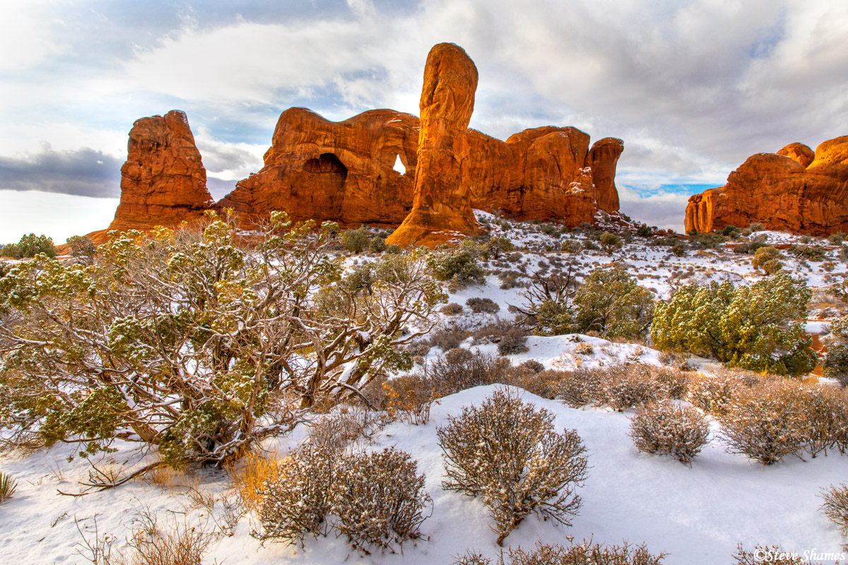 The fresh coating of snow makes for a beautiful scene at Arches National Park.