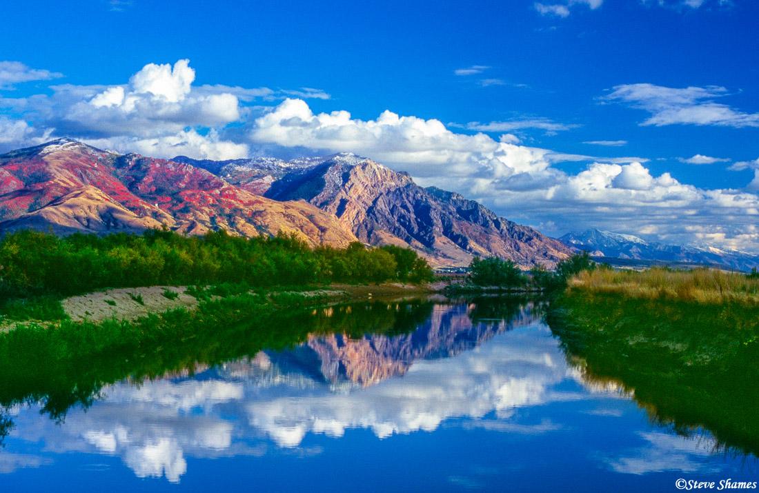 brigham city, bird refuge road, wasatch mountains, photo