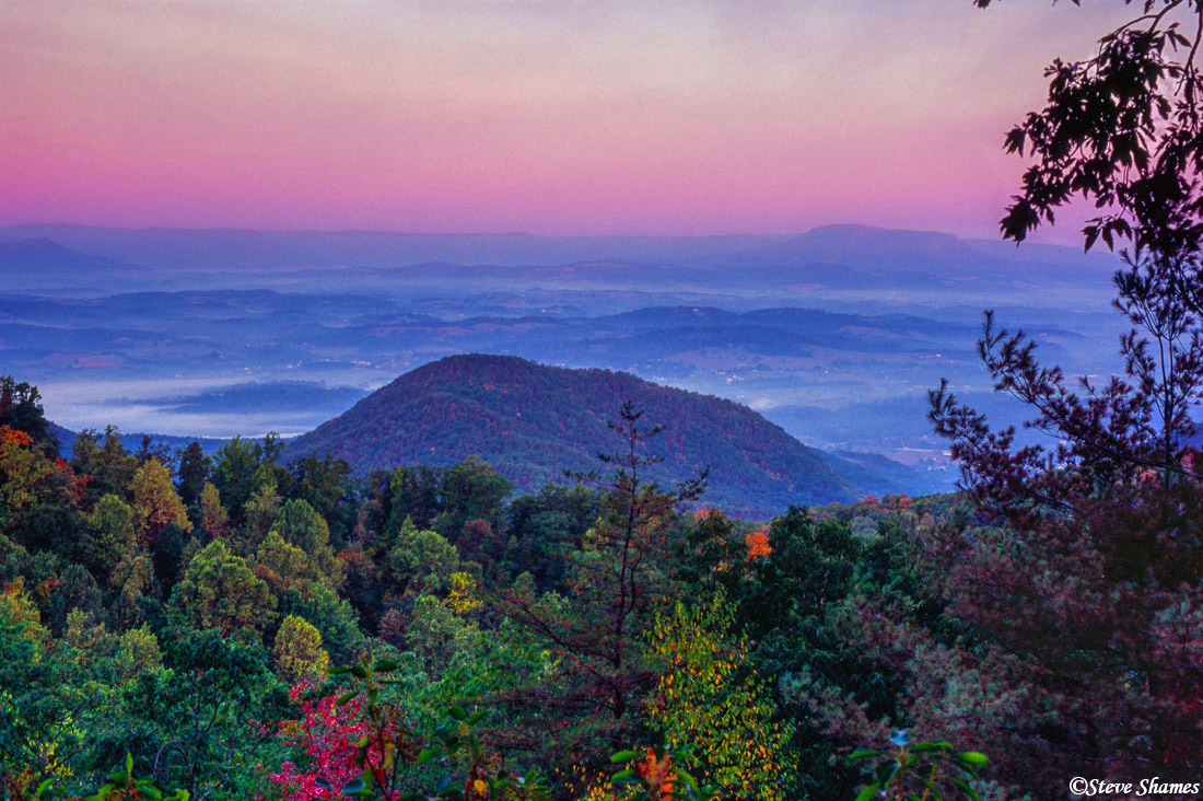 shenandoah sunrise, national park, virginia, low lying mist, photo