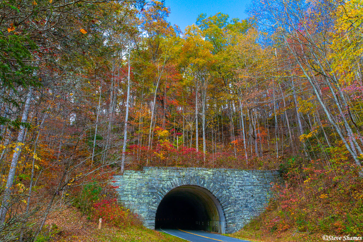 I like the tunnels along the Blue Ridge Parkway. This one has especially colorful foliage around it.