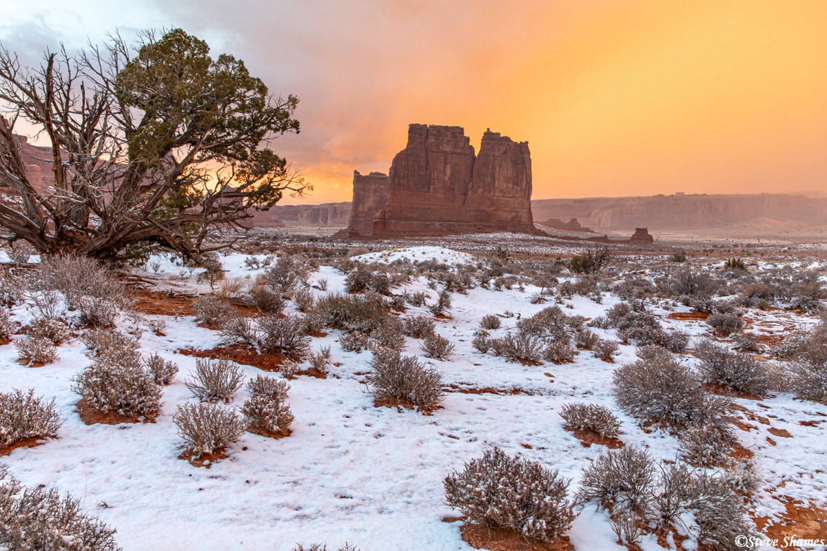 This formation is known as Courthouse Towers. Here is is in the last colorful light of the day.