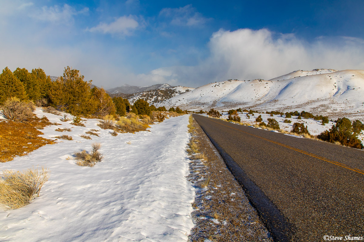 A beautiful snowy pass, over the Desatoya Mountains in central Nevada.