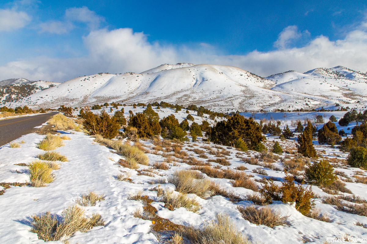 I like the look of pristine snow over mountain passes. This was the Desatoya Mountains on the way to Austin Nevada.
