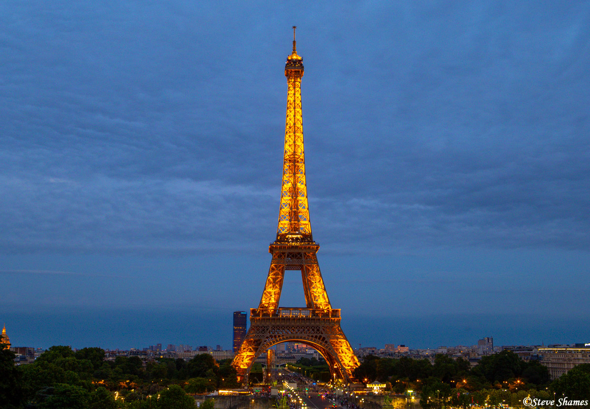 eiffel tower at night, paris, france, photo