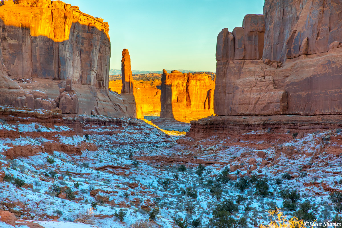 First light of the day at Arches National Park.