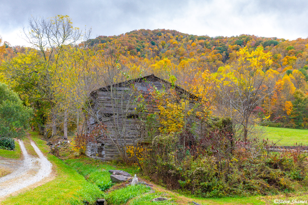 An old barn plays center stage to this colorful rural scene in the north Georgia mountains.